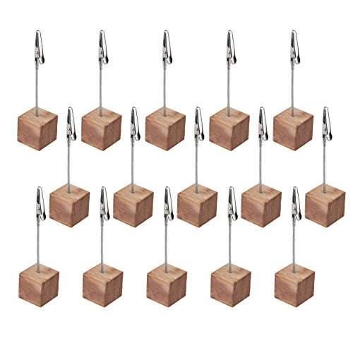 CM COSMOS 15 Pcs Lightweight Cube Base Memo Clips Holder with Alligator Clip Clasp for Displaying Number Cards (Wooden (Cube Clip Memo Holder)