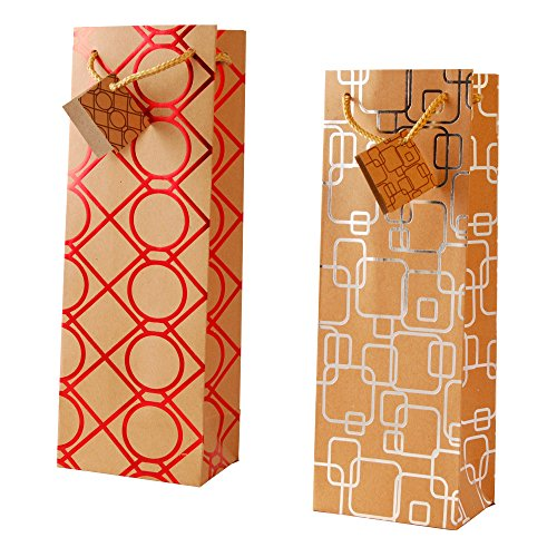 Assortment Bottle Bag - Kraft Paper Wine Bottle Gift Bag Foil Pattern 12 Piece Assortment Fat Toad
