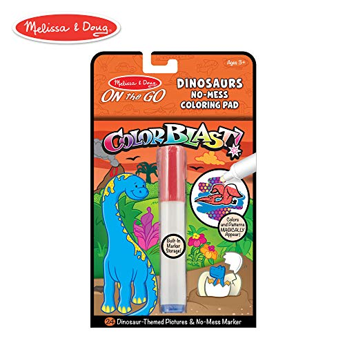 Melissa & Doug On the Go ColorBlast No-Mess Coloring Pad, Dinosaur (24 Color-Reveal Pictures, Invisible Ink Marker) ()