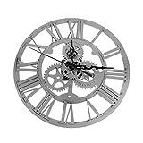 European Style Gear Wall Clock, Modern Home Decor Clock Large Round Metal Color Wall Vintage Steampunk Skeleton by Newpurslane (Silver)