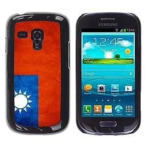 TopCaseStore / la caja del caucho duro de la cubierta de protección de la piel - Taiwan Grunge Flag - Samsung Galaxy S3 MINI NOT REGULAR! I8190 I8190N