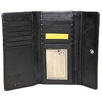 ASHLIN RFID BLOCKING Ladies ASHLIN Cashmere Ultra Soft leather | 11 cards | 1 ID pocket | Back Zippered Change Purse |Lambskin Womens Wallet|Black|[RFIDL5910-07-01]