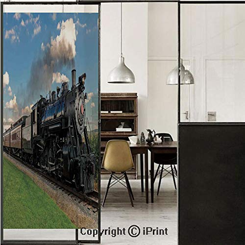 Frosted Puff - Steam Engine 3D Decorative Film Privacy Window Film No Glue,Frosted Film Decorative,Vintage Locomotive in Countryside Scenery Green Grass Puff Train Picture,for Home&Office,23.6x59Inch Blue Green Blac