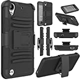HTC Desire 530 Case, HTC Desire 555 Case, Elegant Choise Heavy Duty Hybrid Armor Shockproof Dual Layer [Swivel Belt Clip] Holster with [Kickstand] Combo Case for HTC Desire 550 (Black)
