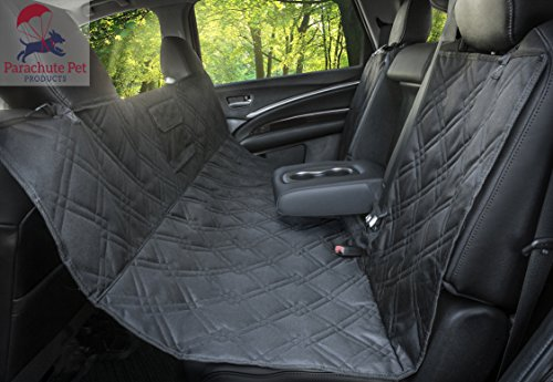 Parachute Pet Bench Car Seat Protector For Up To 3 Seatbelts With Removable Zipper - Non-Slip Backing & A Lifelong Promise (Black Zipper). Also Available In Black Bench.