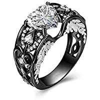 Heart Shaped White Zircon Black Gold Filled 925 Silver Women Angel Wing Ring (9)