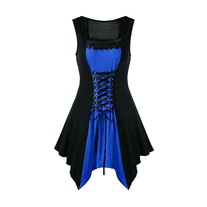 Steampunk Clothing for Women Plus Size,MILIMIEYIK Vintage Black Steampunk  Gothic Victorian Ruffled Mini Dress Sleeveless