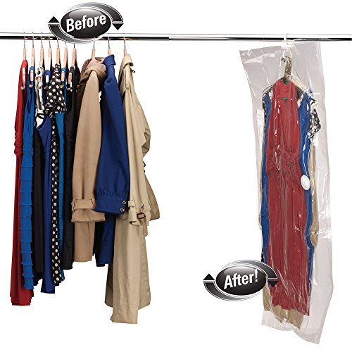 Household Essentials 4516 MightyStor Hanging Garment Vacuum Storage Bag for Dresses - X-Large