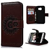 YOKIRIN S7 Edge Wallet Case PU Leather Wallet Flip Cover Classy Totem Embossed Design Magnetic Closure Card Holders Case with Hand Strap Card Holder and ID Slot for Samsung Galaxy S7 Edge Brown