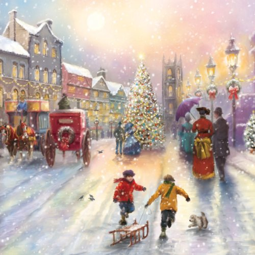 premium charity christmas cards victorian street scenic gloss finish pack of 5