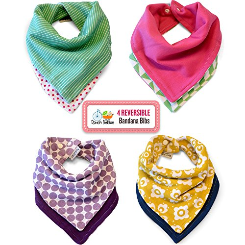 Reversible Bandana Bibs by Rench Babies - 4-Pack Absorbent for sale  Delivered anywhere in USA