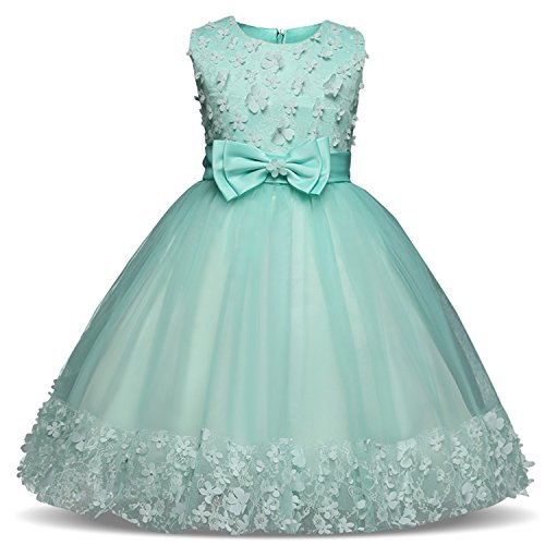 TTYAOVO Girl Princess Flower Bowknot Lace Baby Girls Wedding Christmas Party Dress 3-4 Years Green (Size 110)