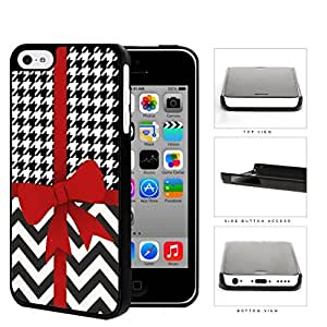 Red Ribbon With Houndstooth And Chevron Pattern Hard Plastic Snap On Cell Phone Case Apple iPhone 5c