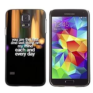 Amor Cariño Cariño Citar Texto- Metal de aluminio y de plástico duro Caja del teléfono - Negro - Samsung Galaxy S5
