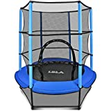 """LBLA Kids Trampoline, 55"""" Mini Trampoline for Kids with Enclosure Net and Safety Pad, Heavy Duty Frame Round Trampoline with Built-in Zipper for Indoor Outdoor"""