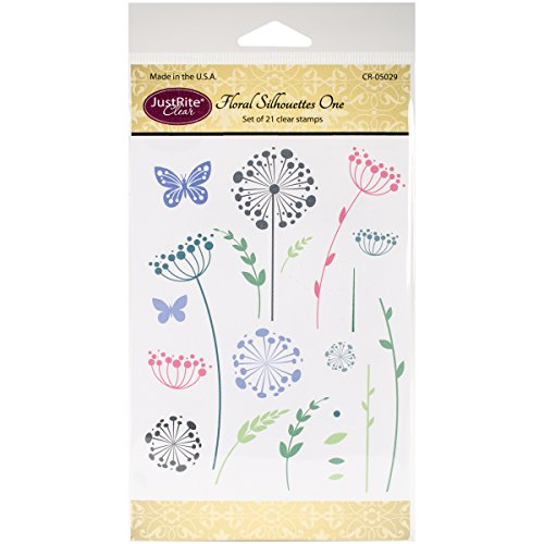 Justrite Papercraft Clear Stamps 4x6-Floral Silhouettes One