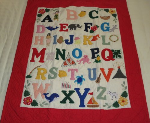 Hawaiian Style quilt Alphabet, crib baby comforter blanket hand quilted/wall hanging