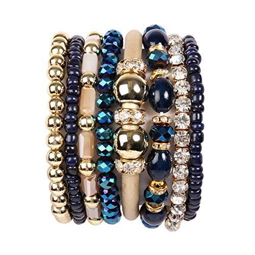 RIAH FASHION Multi Layer Strand Sparkly Stack Bracelets - Rhinestone Crystal Colorful Beaded Statement Stretch Adjustable Bangle Set (Leatherette Mix - Navy)