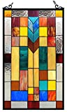 Chloe Lighting Tate Tiffany-Glass Mosaic Design Window Panel 16 x 26