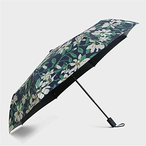 Fashion Camellia Lilies Floral Printed Umbrellas Folding Dual-Purpose Travel Brolly Parasol Umbrellas Novelty (Beige Lily Shade)