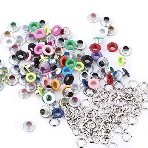 3 Colors 100Sets 5mm Metal Eyelets, Metallic Scrapbooking Eyelet Buckle Leather Craft Apparel Accessory New(Mixed Color)