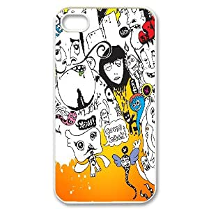 IPhone 4/4s Cases Protective Cute Creepy Comic Faces, Creepy Iphone 4 Case Cheap [White]