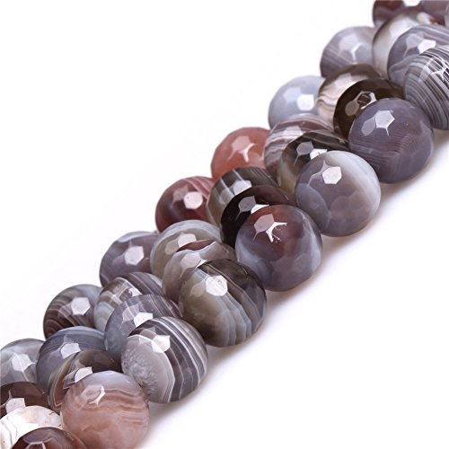 (Botswana Agate Beads for Jewelry Making Natural Gemstone Semi Precious 10mm Round Faceted 15