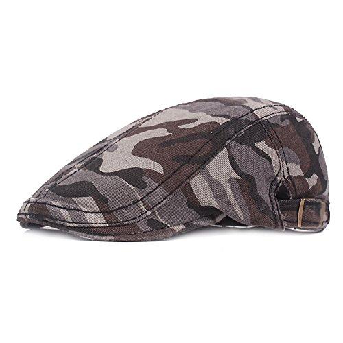 Fasbys Men Women Flat Cap Cotton Camo Newsboy Hat Ivy Gatsby Hat Summer Adjustable Cap (Grey)