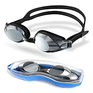 Amazer Swim Goggles with 3 Interchangeable Nosepieces, Adult Swimming Goggles Clear Wide Vision Anti Fog UV Protection No Leaking Easy to Adjust Free Protection Case for Adult Men Women Youth