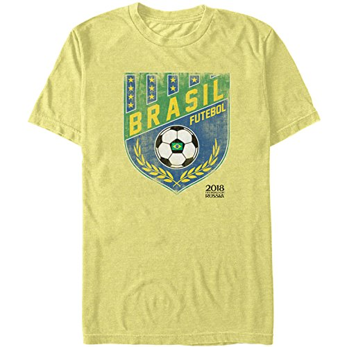 FIFA World Cup Russia 2018 Men's Brazil Crest Banana T-Shirt - Cup Slim Fit T-shirt