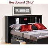 Brisbane Full Queen Storage Wood Headboard, Black