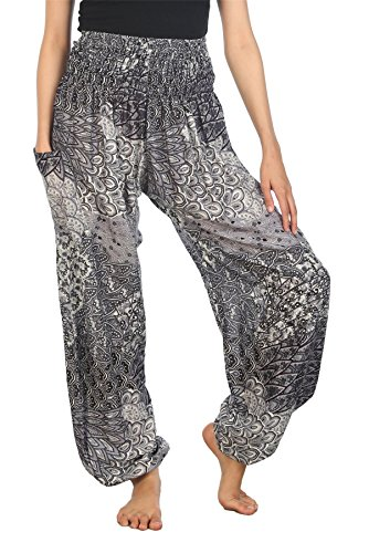 (Lofbaz Women's Colourful Peacock Printed Boho Pants Black B M)