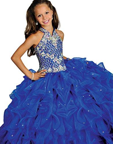 Aisha Girls' Halter First Communion Girl Prom Dress 12 US Blue