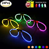 Glowsticks KYC 24 Lights-Up Goggles at Night Glow Sticks Eyeglasses Glow Glasses- 6 Color Mix Assorted Play in Party Supplies with individal Package