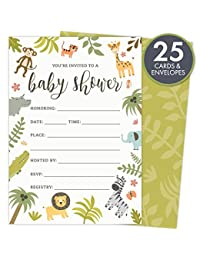 Safari Baby Shower Invitations Set of 25 Fill-In Style Cards and Envelopes. Jungle theme with Monkey, Giraffe, Elephant, Lion and Zebra. Printed on Heavy Card Stock. BOBEBE Online Baby Store From New York to Miami and Los Angeles