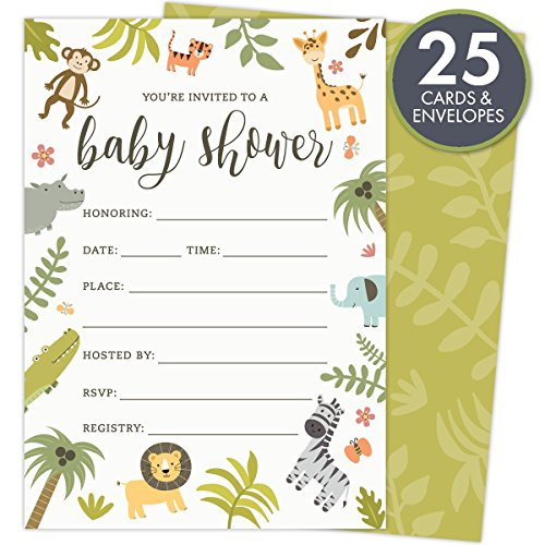 Safari Baby Shower Invitations Set of 25 Fill-In Style Cards and Envelopes. Jungle theme with Monkey, Giraffe, Elephant, Lion and Zebra. Printed on Heavy Card (Baby Theme Baby Shower)