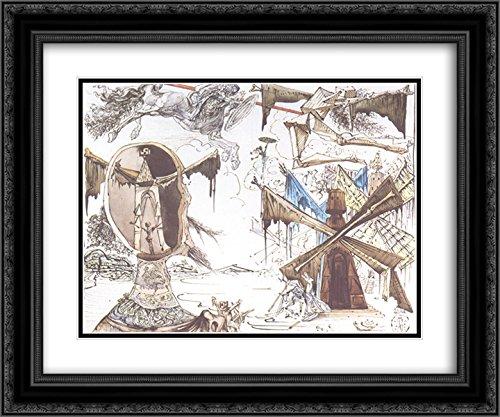 Salvador Dali 2x Matted 24x20 Black Ornate Framed Art Print 'Don Quixote and the Windmills'