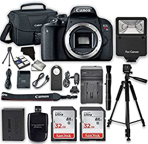 Canon EOS Rebel T7i Digital SLR Camera (Body) + 2x 32GB Class 10 SD Memory Card + Accessory Bundle