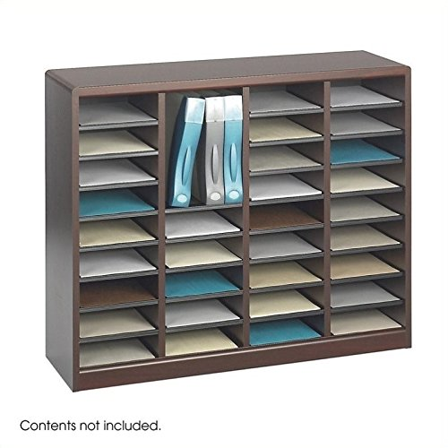 Scranton & Co Mahogany Wood Mail Organizer - 36 Compartments by Scranton & Co