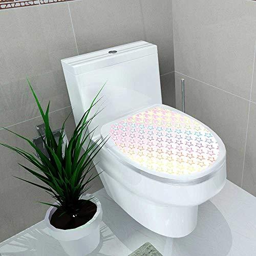 Auraise-home Bathroom Toilet Fond d'écran ériel arc en ciel Sept Couleurs coloré étoiles étoiles Motif en étoile Vinyl Decal Sticker W14 x -