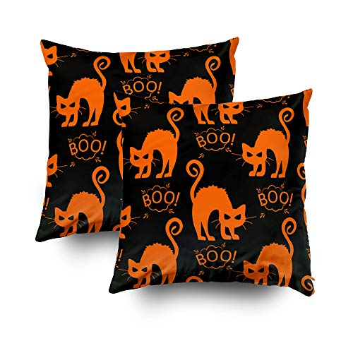 GROOTEY Decorative Cotton Square Set of 2 Pillow Case Covers with Zippered Closing for Home Sofa Decor Size 20X20Inch Costom Pillowcse Throw Cover Cushion,Abstract Seamless Halloween cat Pattern]()