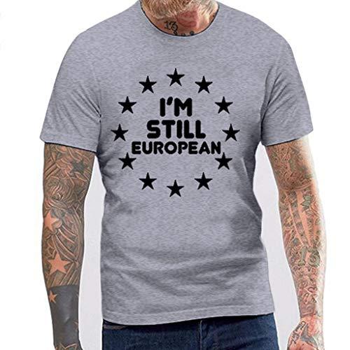 iHPH7 T-Shirt Men Workwear Short Sleeve T-Shirt Pentagram Printed Round Neck XL Gray -