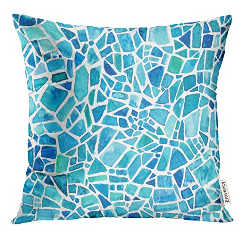 VANMI Throw Pillow Cover Green Sea Mosaic Blue Kaleidoscope Watercolor Geometric Pattern Stained Glass Effect Colorful Patchwork Decorative Pillow Case Home Decor Square 18x18 Inches Pillowcase
