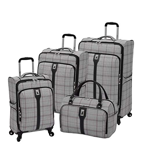 Sets Plaid Luggage (London Fog Knightsbridge 4-Pc Set (Grey/Burgundy Glen Plaid))