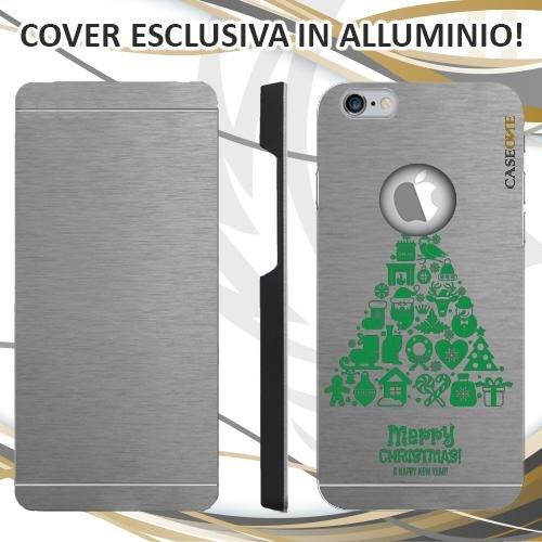 CUSTODIA COVER CASE ALBERO MARRY CHRISTMAS PER IPHONE 6S ALLUMINIO TRASPARENTE