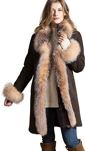 Chantal Reversible Sheepskin Coat With Crystal Fox Fur Trim (Reversible Overland Coat)