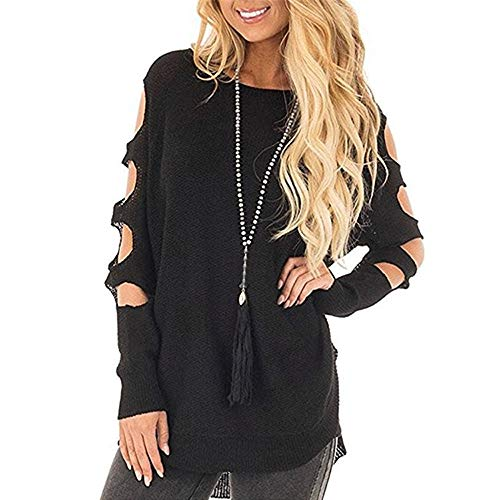 (iFOMO Womens Autumn Winter Long Sleeve Loose Round Neck Solid Hollow Knit Asymmetrical Dip Hem Sweater Pullover Jumper(Black,S))