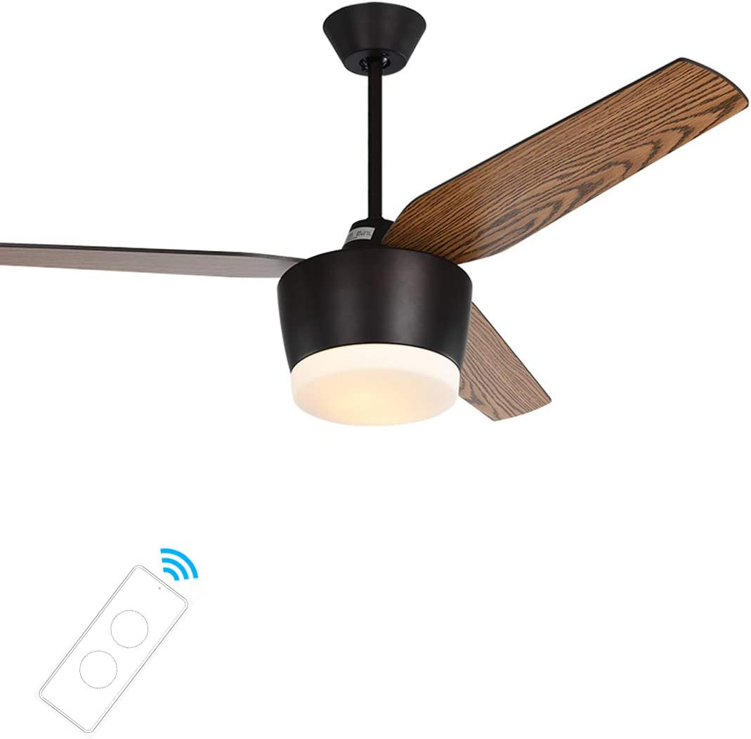 Ventilador de Techo Con Iluminación LED y Control Remoto, Ventilador de Madera de 3 Palas, Ajuste de 3 Velocidades, Motor Silencioso Reversible, Lámpara Colgante LED, Diámetro 132 cm