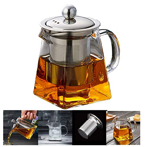 Glass Teapots with Infuser PluieSoleil, 500 Milliliter in Square Shape, Tea Strainers for Loose Leaf Tea Microwavable and Stovetop Safe