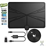 HD Digital TV Antenna, Best 60 Miles Range HDTV Indoor Antenna with Amplified Signal Booster, Power Adapter, and 13.2Ft Coaxial Cable-UPGRADED 2018 VERSION